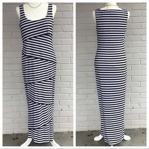 Black & White striped layered sleeveless maxi